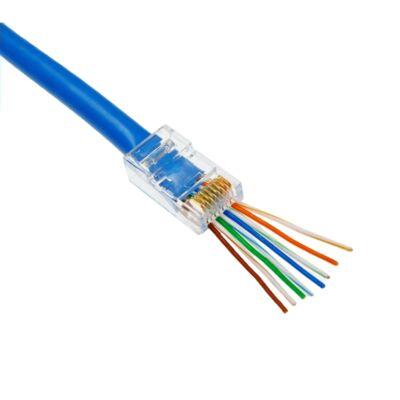 RJ45 átmenő csatlakozó UTP Cat6 kábelre (kiszerelés 100db/doboz)