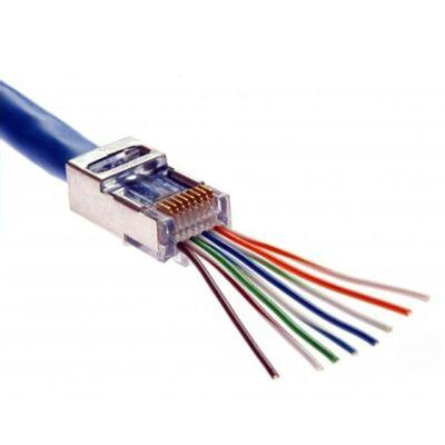 RJ45 átmenő csatlakozó FTP Cat5e kábelre (kiszerelés 100db/doboz)