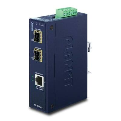 Planet IGT-1205AT 10/100/1000T - 2-port 100/1000X SFP ipari média konverter