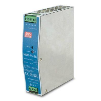 Mean Well PWR-75-48 ipari PoE switch tápegység DIN sínre szerelhető. 48Vdc 75W