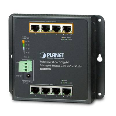 Planet WGS-804HPT 8-Port 10/100/1000T Wall-mount Managed Switch with 4-Port PoE+